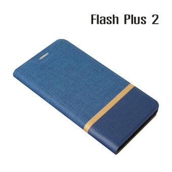 Alcatel Case เคสฝาพับหนัง PVC มีช่องใส่บัตร Flash Plus 2 (สีน้ำเงิน)