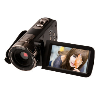24มกาพิกเซล 16 x ซูมกล้องถ่ายวิดีโอแบบเอชดีดีวีดี 270องศาการหมุนหน้าจอเว็บแคมกล้องมองในที่มืดแบบพกพาด้วยรีโมทควบคุม (สีดำ)