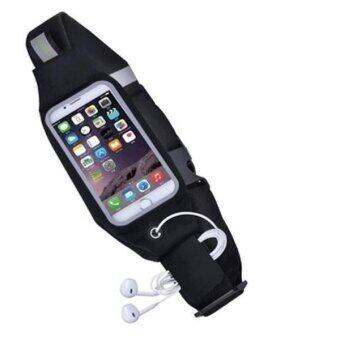 I-Smart กระเป๋าสายคาดเอวใส่โทรศัพท์ สำหรับออกกำลังกาย iPhone 6 / 6S+ (สีดำ)