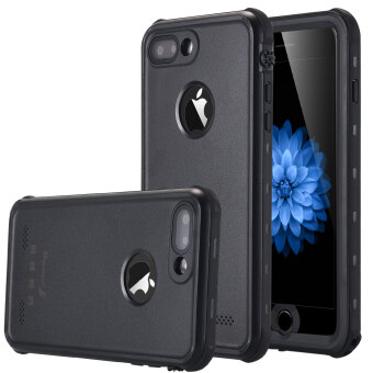 iPhone 7 Plus เคสกันน้ำ IP-68 กันน้ำกันกระแทกป้องกันฝุ่นป้องกันหิมะปกคลุมร่างกายป้องกันแบบเคสสำหรับ Apple iPhone 7 Plus 13.97ซม-สีดำ