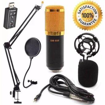 At First BM-800 Condensor Microphone ไมค์โครโฟนอัดเสียง SET + Sound Card USB (Black)