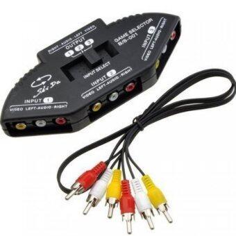 AUDIO กล่องเลือกสัญญาณภาพเสียงเข้า3ทางออก1ทาง (สีดำ)