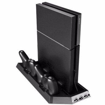 แท่นวาง ที่ชาร์ท พัดลม PS4 Cooling Station Vertical Stand with 2 Controller Charging Dock PlayStation 4 2 Cooling Fans+2 Charging Port+3 USB Port