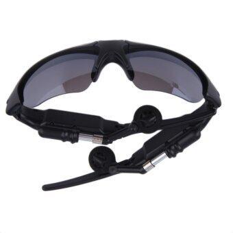แฮนด์ฟรีบลูทูธไร้สาย 4.1 ชุดหูฟังสเตอริโอหูโทรศัพท์แว่นตากันแดด (สีดำ)