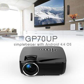 โปรเจคเตอร์ LED Projector WiFi Bluetooth Projector Smart TV Android4.4 8G+1G Wireless รุ่น GP70 UP - สีดำ