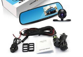GOOD IT Black Box DVR กล้องติดรถยนต์แบบกระจกมองหลังพร้อมกล้องติดท้ายรถ FHD1080Pแพ็คคู่ (สีดำ) ฟรีMicro SD CARD 32Gแพ็คคู่ (image 1)