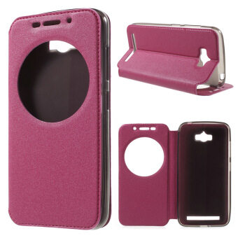 Harga Sand-like Texture Smart View Leather Case for Asus Zenfone Max ZC550KL - Rose - intl