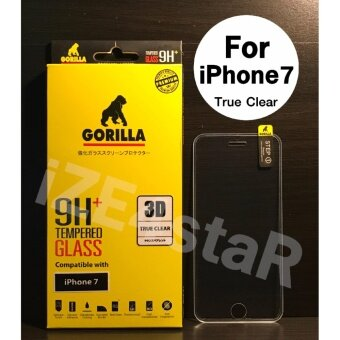 Gorilla 3D True Clear Tempered Glass กอริล่าฟิล์มกระจกนิรภัยใสเต็มจอขอบยาง For iPhone 7
