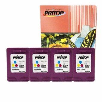 PRITOP HP DeskJet 1000,1050,1055,2050,3000,3050 ใช้ตลับหมึกอิงค์เทียบเท่า รุ่น 61/61CO/61XL/CH564WA /*4 pack Pritop