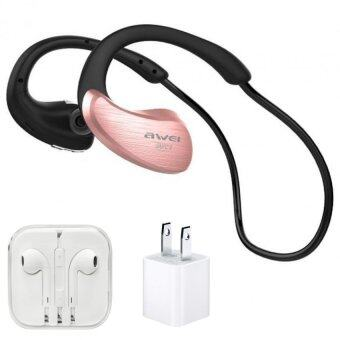 AWEI Wireless WaterProof Stereo Headset A885BL IPX4 Level (โรสโกลด์)+หูฟังเกรดA+AdapterUSB