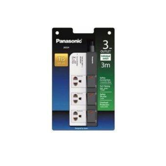 PANASONIC ปลั๊กพ่วงป้องกันไฟกระชาก 3ที่ 3สวิตช์ สายไฟยาว 3 เมตร รุ่นWCHG28334 (สีขาว)