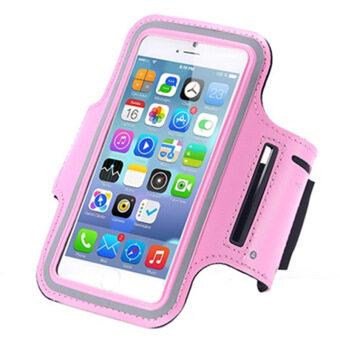 โทรศัพท์มือถือมือถือกันน้ำป้องกันเข็มขัดปลอกแขนวิ่งถือเคสกีฬาออกกำลังแขนสายกระเป๋าสำหรับ iPhone 5/5S S4mini ยูนิเวอร์แซล 10.16ซม (สีชมพู)