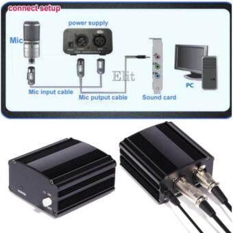 iremax เครื่องขยายสำหรับไมโครโฟน คอนเดนเซอร์ แบบ 1 Channel Phantom Power 48V (สีดำ)