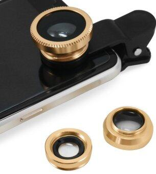 LIVA ชุดเลนส์เสริมกล้องมือถือ ซัมซุง ไอโฟน HTC รุ่น BE PRO - เลนส์ฟิชอายส์ เลนส์ไวลด์ เลนส์มาโคร พร้อมฝาปิดเลนส์ และ ถุงผ้ากำมะหยี่สีดำ (สีทอง)