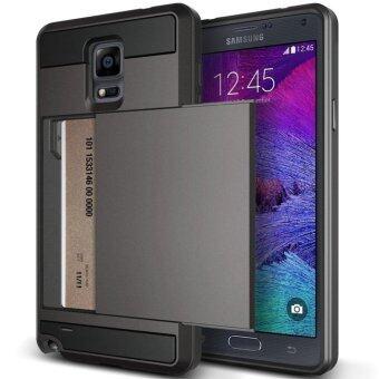 โทรศัพท์เก๋ไก๋สไลด์ฝาหอยกลับมาเก็บที่เก็บบัตรสำหรับ Samsung Galaxy Note 4 N9100 (สีดำ)
