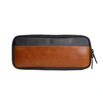 Cool no.9 D-park กระเป๋าหนังผสมผ้า Canvas กันน้ำได้ สำหรับใส่จัดเก็บอุปกรณ์ คอมพิวเตอร์พกพา MacBook/โน๊ตบุ๊ค, โทรศัพท์มือถือแอนดรอยด์ iPhone, Gadget อุปกรณ์เสริมต่างๆ เช่น หูฟัง สายชาร์จ แบตสำรอง (สีดำ)
