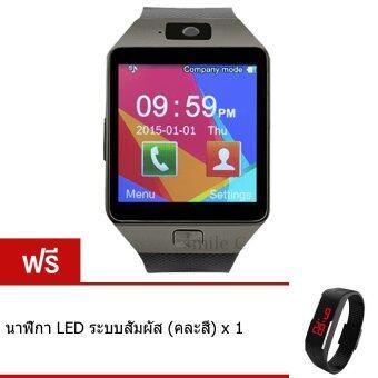 smile C นาฬิกาโทรศัพท์ Smart Watch รุ่น DZ09 Phone Watch (Black) ฟรี นาฬิกา LED ระบบสัมผัส (คละสี)