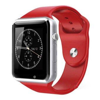 A1 นาฬิกาอัจฉริยะนาฬิกาสมาร์ทนาฬิกาข้อมือโทรศัพท์บลูทูธสำหรับ Android Samsung S5 S6 Note 4 Note 5 HTC Sony LG และ iPhone 5/5S 6 Plus โฟนสีแดง