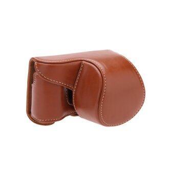 กระเป๋ากล้องกระเป๋าเคสครอบสำหรับ Sony A5000 A5100 NEX 3N สีน้ำตาล