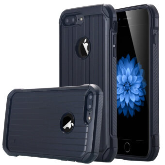 iPhone 7 Plus เคส ลูกผสมมีผลกระทบสูงสองชั้นดูด TPU กันชนช็อคหนัก และเกราะป้องกันฝาเคสพีซีย้อนกลับสำหรับ Apple iPhone 7 Plus-สีดำ