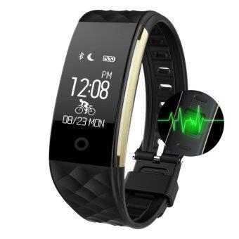 smile C ดอัตราการเต้นหัวใจ ฟิตเนส นาฬิกาสุขภาพอัจฉริยะ ติดตามกิจกรรม โหมดขี่จักรยาน Android iOS Smart bracelet รุ่น S2 - Black