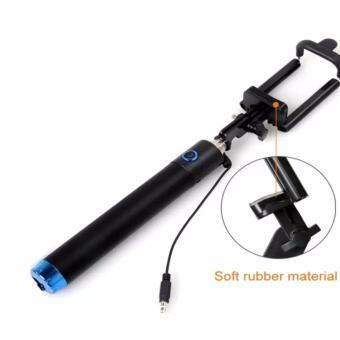 B2B store123-Monopod Selfie Stick ไม้เซลฟี่สีดำพร้อมตัวกดถ่ายรูปในตัว (ปุ่มสีน้ำเงิน)
