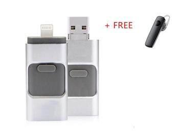 256จิกะไบต์ฮาร์ดดิสก์โทรศัพท์ครับสำหรับ iPhone 6, 6s Plus 5 5S 7puls ipad ปากกาโลหะเพื่อขับเคลื่อนสอง ชม, เมมโมรี่สติ๊ก Otg ไมโครยูเอสบีแฟลชไดรฟ์+ชุดหูฟังบลูทูธฟรี (เงิน)