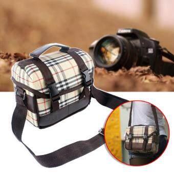 Elit กระเป๋าใส่กล้อง กระเป๋าสะพายข้างใส่กล้อง กระเป๋ากล้องลายสก๊อต สำหรับกล้อง DSLR และ Mirrorless