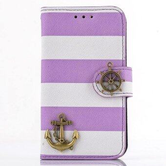 Harga Stripes Anchor Rudder Wallet Case For Samsung Galaxy S4 mini i9190 Purple - intl