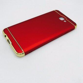 Case Samsung Galaxy J7 Primeเคสกันกระแทก แบบไม่หนา สีเมทัลลิค หัว-ท้าย(สีแดง-ขอบทอง)