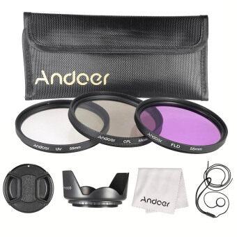 Andoer 55มมชุดกรอง (UV+CPL+FLD)/กระเป๋าถือไนลอน/หมวก/หมวกเลนส์เลนส์กล้อง/เลนส์/กระโปรงผ้าทำความสะอาดเลนส์
