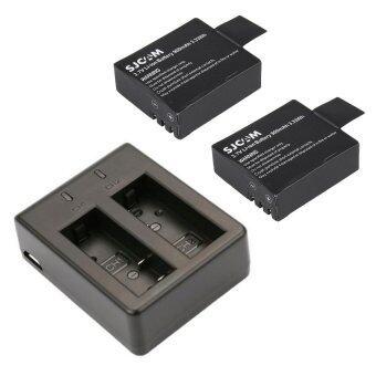 แท่นชาร์จคู่ พร้อมแบต 2 ก้อน สำหรับ SJCAM SJ4000 SJ5000 - Black