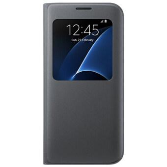 จริง Samsung S ดูฝาเคสสำหรับ Samsung Glaxy S7 Edge (สีดำ)