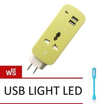 iGadget Dual USB Universal Socket ปลั๊กพ่วง สายม้วน พร้อมช่อง USB 2 ช่อง (Green) ฟรี USB LIGHT LED