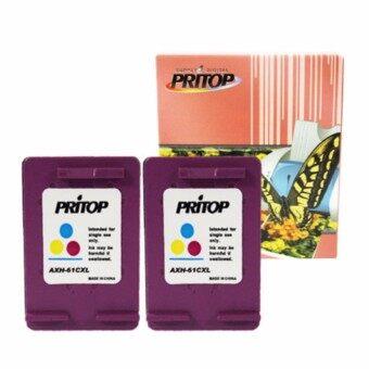 PRITOP HP DeskJet 1000,1050,1055,2050,3000,3050 ใช้ตลับหมึกอิงค์เทียบเท่า รุ่น 61/61CO/61XL/CH564WA /*2 pack Pritop