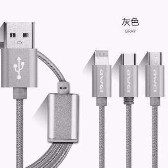 Awei CL-970 3 In 1 Lightning/Micro USB/USB Type-Cสายชาร์ตและเชื่อมต่อข้อมูล(Black)