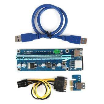 นำเสนอ Power Cable PCI-E Express Extender USB3.0 1x to 16x Riser Card Adapter SATA - intl ข้อมูล