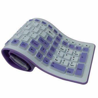 คีย์บอร์ดยางแบบยาว 105 คีย์ Keyboard USB ยางกันน้ำ ม้วนเก็บได้ (สีขาว/ม่วง)