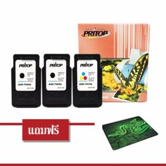 Pritop/Canon ink Cartridge PG-740XL*2/CL-741-XL*1 ใช้กับปริ้นเตอร์ Canon Inkjet MG4270/MX517MG2170/MG3170/MG4170/MX437MX377 หมึกสีดำ 2 ตลับ หมึกสี 1 ตลับ แถมฟรีแผ่นรองเมาส์