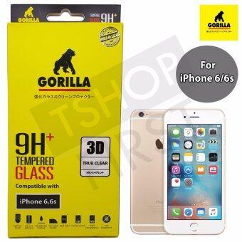 Gorilla 3D True Clear Tempered Glass กอริล่า ฟิล์มกระจกนิรภัยใสเต็มจอขอบยาง For iPhone 6,6s