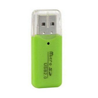 ขายถูก Elit High Speed USB 2.0 Micro SD T-Flash TF M2 Memory Card Reader adapter - Green แนะนำ