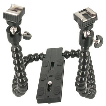 Harga Flexible Dual/ Twin-Arm/Hot shoe Flash Bracket for CANON NIKON PENTAX MACRO SHOT - intl