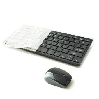 9FINAL Modern Design Ultra Thin Design 2.4GHz Mini Wireless Keyboard + Cover + Mouse Kit for Desktop Laptop PC Computer (Black)