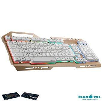 มาใหม่ Tsunami GK-09 Alloy Panel Backlight Gaming USB Wired Keyboard Gold เปรียบเทียบราคา