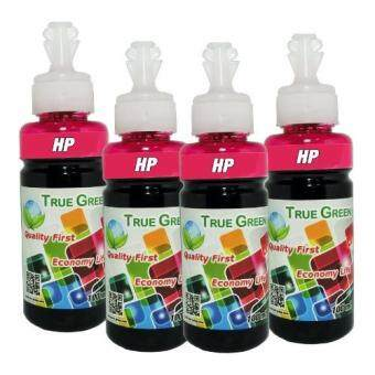 HP True Green inkjet refill 100ml. HP all model : Magenta ( ชุด 4 ขวด)(Magenta)