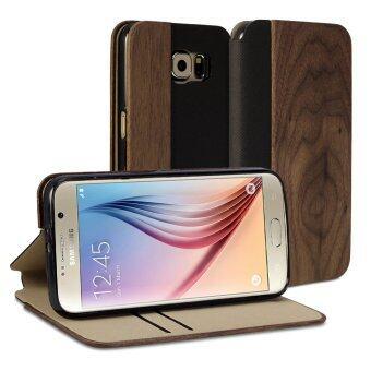 GMYLE เคสลายไม้ เคสฝาพับ Samsung Galaxy S6 (ลายวอลนัทสีเข้ม & หนัง PU)