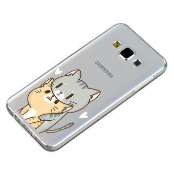 HugCase TPU เคส Samsung Galaxy A7 2015 เคสโทรศัพท์พิมพ์ลาย Cat เนื้อบาง 0.3 mm