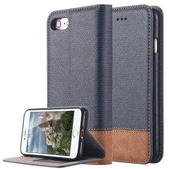 iPhone 7 Plus เคส บูธคุณสมบัติดูดซับแรง ๆ สองชั้นแถมปกหนัง pu โยนกระเป๋าสตางค์กับคดีที่เก็บบัตรสำหรับ Apple iPhone 7 Plus-สีน้ำเงิน