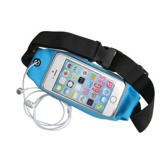 Riche Sport Pouch Belt กระเป๋ากีฬาแบบคาดเอวใส่โทรศัพท์มือถือกันน้ำได้ หน้าจอ 5.5 นิ้ว (สีฟ้า)