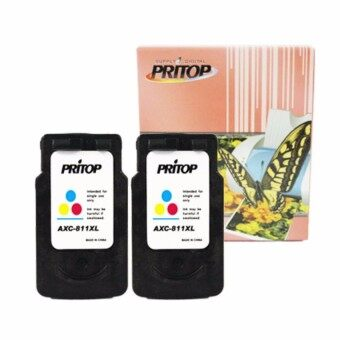 Pritop/Canon ink Cartridge 811/CL 811/CL 811XL/CL-811XL /*2 pack ใช้กับปริ้นเตอร์ Canon Inkjet MP237/IP2770/MX347/MX357/MX328/MP287/MP497/MP366/MX416/MX426/MP245/MP486/MX338/MP496/MP258